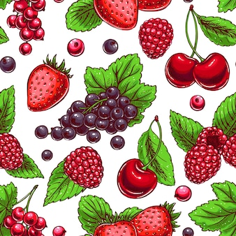 Cute seamless background with ripe berries and leaves. hand-drawn illustration