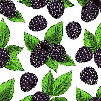熟したブランブルと葉を持つかわいいシームレスな背景。手描きイラスト