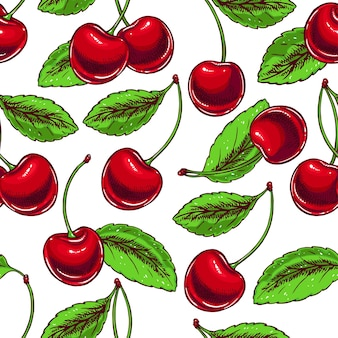 Cute seamless background with ripe cherries and leaves. hand-drawn illustration
