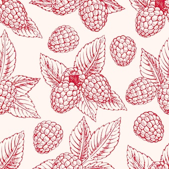 Cute seamless background with ripe pink raspberries and leaves. hand-drawn illustration