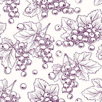 Симпатичный бесшовный фон со спелой фиолетовой смородиной и листьями Premium векторы
