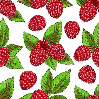 Cute seamless background with ripe raspberries and leaves