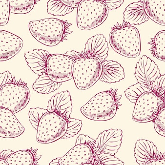 熟したイチゴと葉のあるかわいいシームレスな背景。手描きイラスト