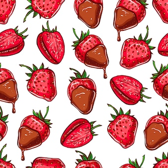 Cute seamless background with strawberries and chocolate