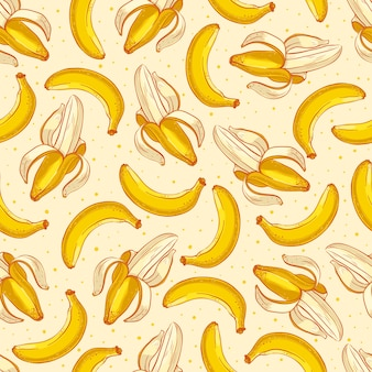 Cute seamless background with yellow bananas