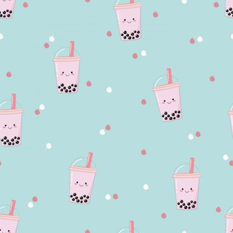 Cute seamless bubble milk tea pattern.