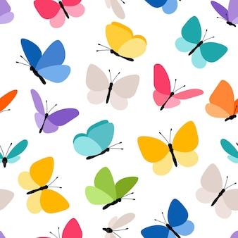 かわいいシームレスな蝶のパターン。空を飛んでいる春色の蝶ベクトル図