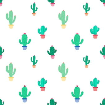 Cute seamless cactus pattern background