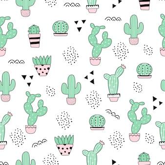 Cute seamless cactus pattern