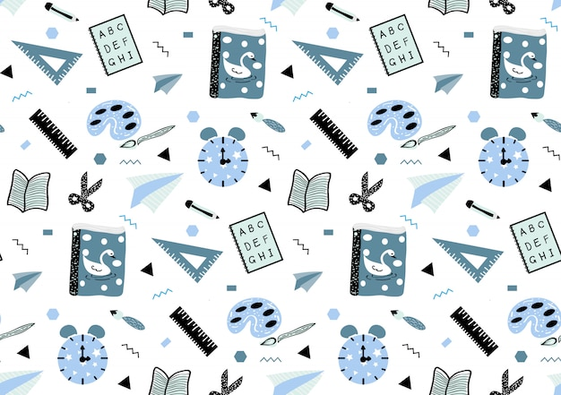 Cute seamless childish pattern with hand drawn school necessary in blue and white style.