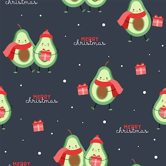 Cute seamless christmas pattern with avocado. new year. merry christmas.