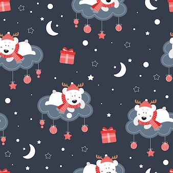 Cute seamless christmas pattern with bear. cute bear on a cloud. stars, gifts, snow, snowflakes, hat, scarf.