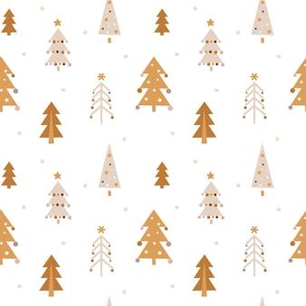 보헤미안 스타일의 크리스마스 트리가 있는 귀여운 매끄러운 크리스마스 패턴