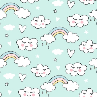 Cute seamless cloud pattern