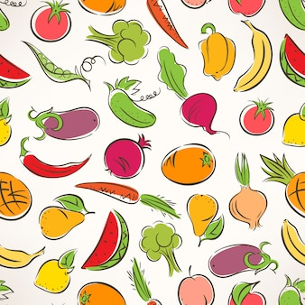 Cute seamless colored background with stylized fruit and vegetables