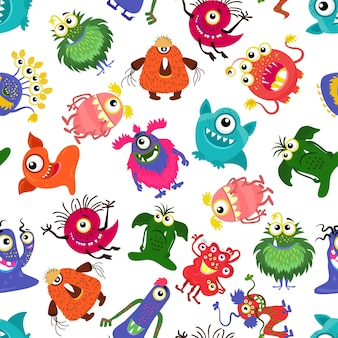 Cute seamless colorful monster pattern for happy little boy.