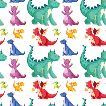 Cute seamless dinosaur pattern