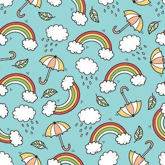 Симпатичные бесшовные модели каракули с облаком, радугой, зонтиком, солнцем, звездным элементом. рисованной линии детский стиль. каракули фон векторные иллюстрации.