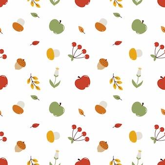 かわいいシームレスな秋のパターン。秋の収穫の壁紙。洋服の縫製や生地へのプリントの背景。リンゴ、キノコ、ベリー、白い背景の葉。包装紙のデザイン。