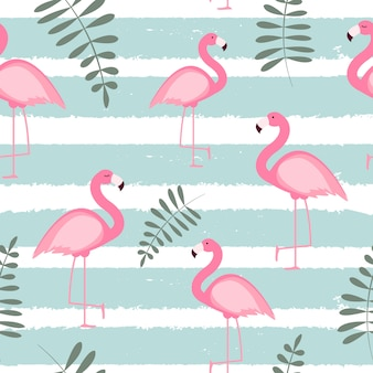 Cute seamless flamingo pattern  illustration
