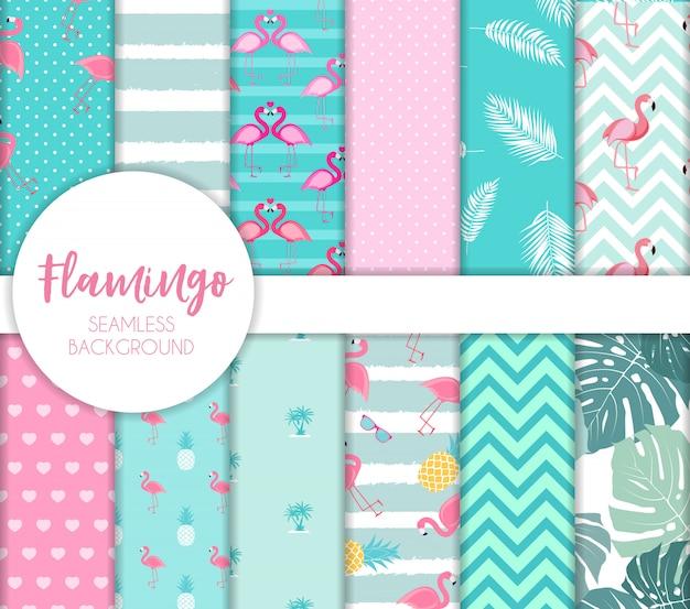 Cute seamless flamingo pattern. set vector illustration