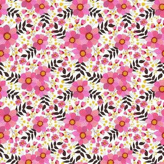 Cute seamless floral pattern in pink flowers