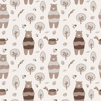 Cute seamless forest pattern with bears
