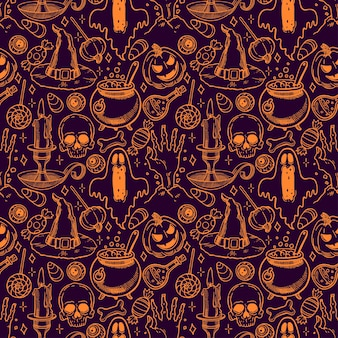 Cute seamless halloween pattern of magical attributes and candies