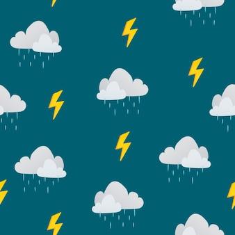 かわいいシームレスな子供のパターンの背景、雨雲ベクトルイラスト