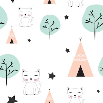 Cute seamless kids pattern