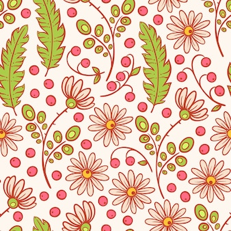 Симпатичный бесшовный естественный фон с ромашками, розовыми ягодами и листьями