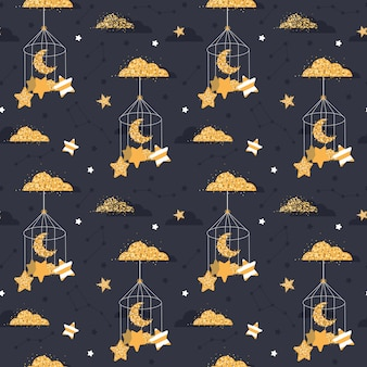 Cute seamless night pattern with stars, moon