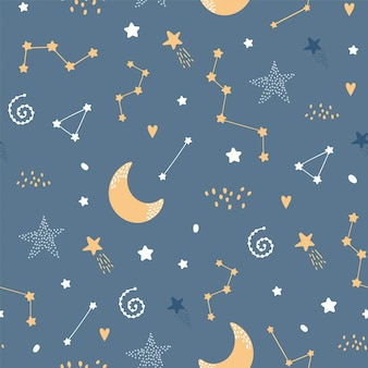 Cute seamless night pattern with stars and moon
