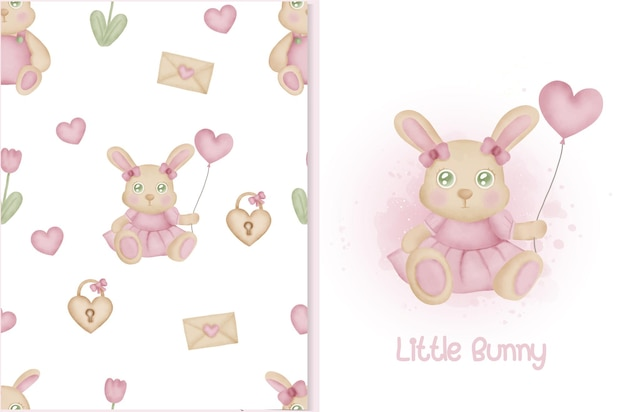 ウサギのバニーとバレンタインの要素を持つかわいいシームレスなパターンとカード。