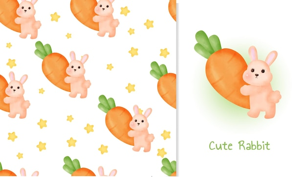 かわいいウサギとかわいいシームレスパターンとグリーティングカード