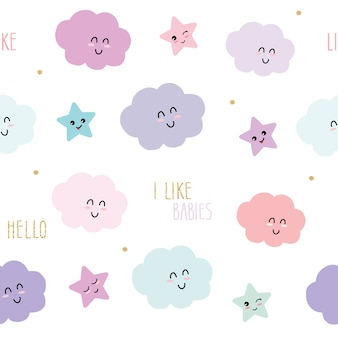 Cute seamless pattern background with cartoon kawaii stars and clouds.