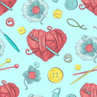 Cute seamless pattern of balls of yarn
