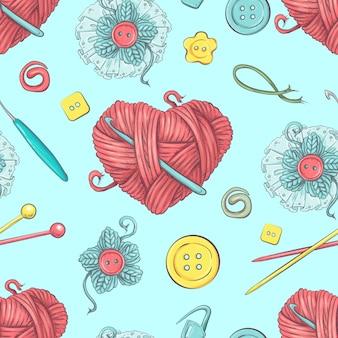Cute seamless pattern of balls of yarn