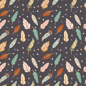 Cute seamless pattern in boho style colorful feathers on the dark background  tribal feather