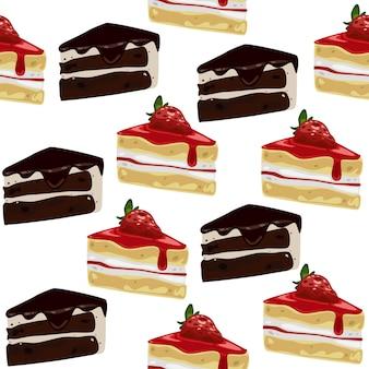 かわいいシームレスパターンケーキ
