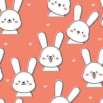 Милый бесшовные модели мультфильм белый кролик