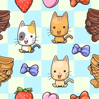 귀여운 원활한 패턴 고양이 만화 일본 물고기 모양의 케이크에 앉아