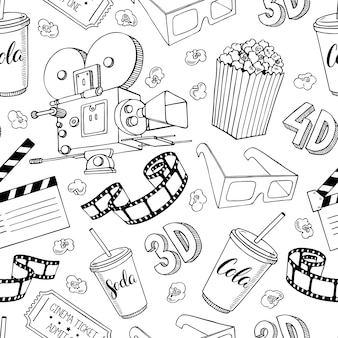 Cute seamless pattern of cinema attributes. hand-drawn illustration