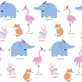 Cute seamless pattern colorful animals vector.