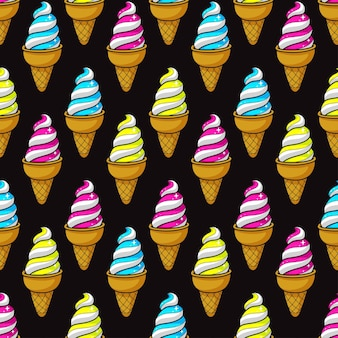 Cute seamless pattern of colorful cartoon ice cream. vector illustration