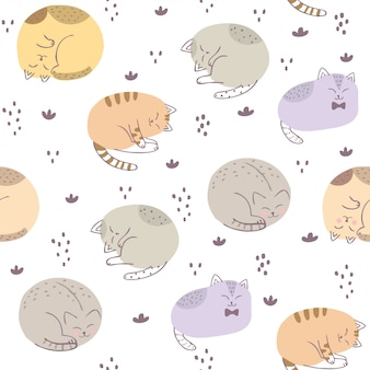 Cute seamless pattern colorful cat vector.