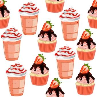 かわいいシームレスパターンカップケーキ