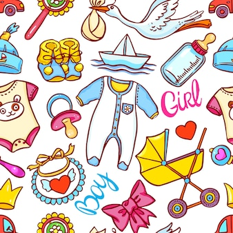 Cute seamless pattern of different things for children