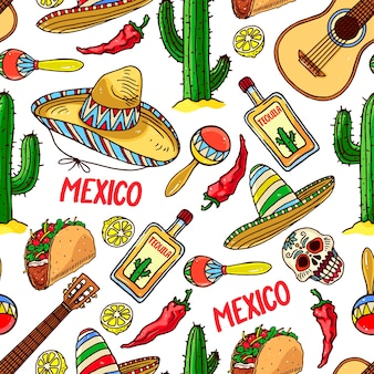 Cute seamless pattern of different traditional mexican elements