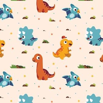 Cute seamless pattern of dinosaurs